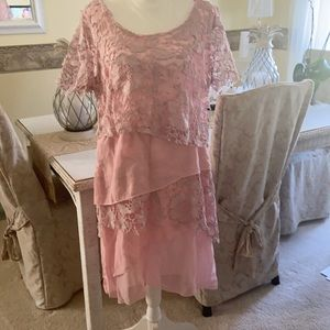 Pretty in pink lace tired long dress  3XL
